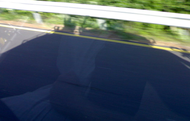 Shadow of the Big Green Monster on a French motorway